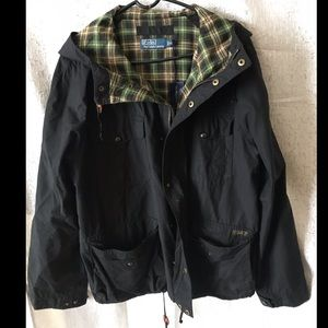 Ralph Lauren Black & Plaid Jacket sz XL w/ hood